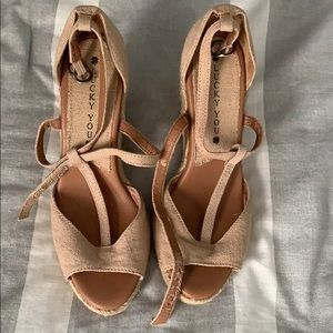 Lucky brand open toe wedges